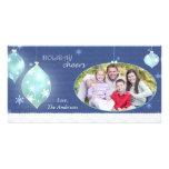 Foto de familia azul de las Felices Navidad del in Tarjetas Fotográficas Personalizadas