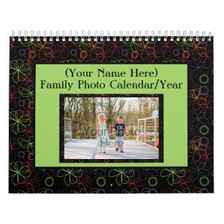 Foto de familia colorida de los marcos 1 por la calendario