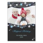Foto de familia festiva del navidad de las luces q tarjetón