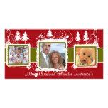 Foto de familia verde roja del día de fiesta de lo tarjetas fotográficas personalizadas