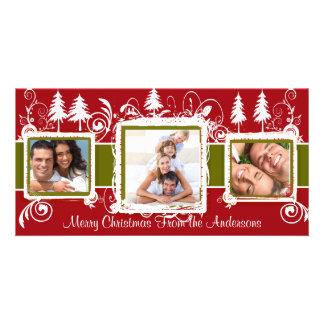 Foto de familia verde roja del día de fiesta de tarjeta fotografica personalizada
