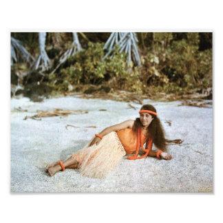 Foto de Hawaii: Color natural 1910 del chica de Fotografías