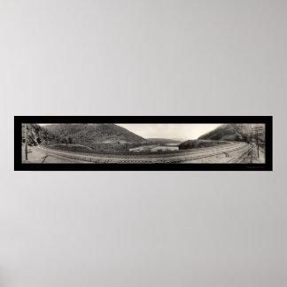Foto de herradura 1934 del RR de la curva del PA d Póster