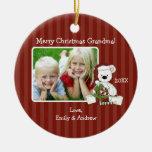 Foto de la abuela del oso del navidad personalizad ornamento para reyes magos