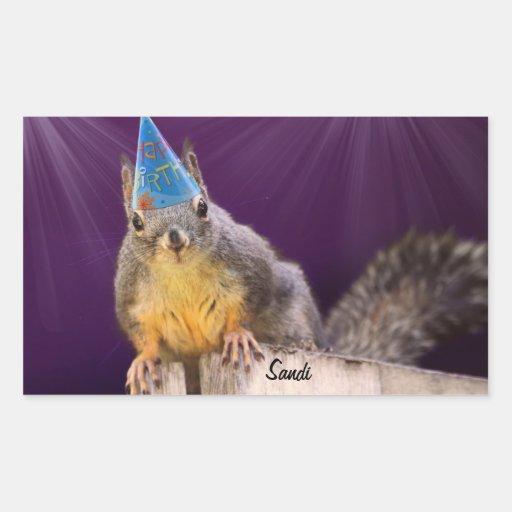 Foto de la ardilla del cumpleaños pegatina rectangular