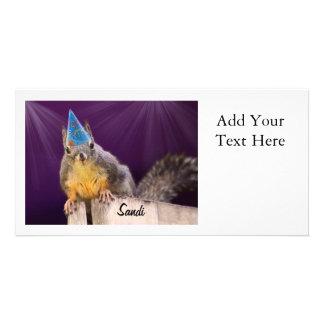 Foto de la ardilla del cumpleaños tarjeta fotográfica