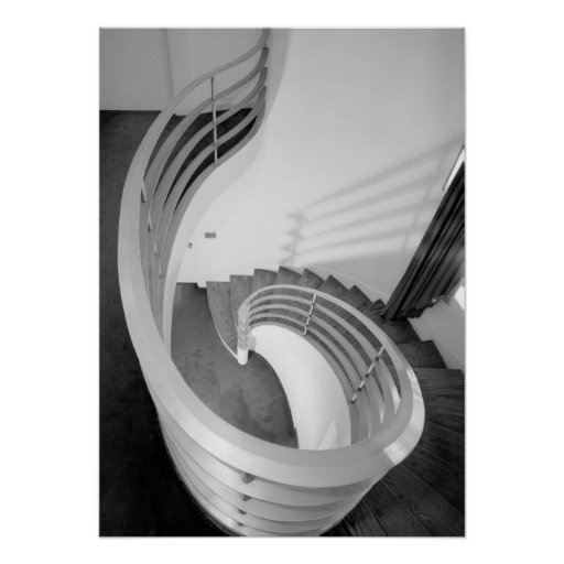 Foto de la arquitectura - escalera elíptica Pasill Posters