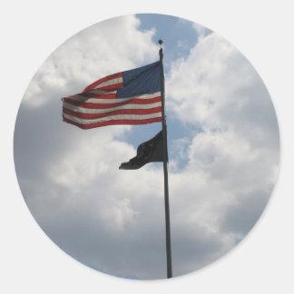 Foto de la bandera de los E.E.U.U. Pegatina Redonda