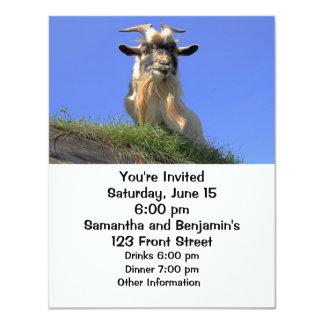 """Foto de la cabra de Billy Invitación 4.25"""" X 5.5"""""""