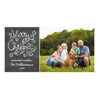 Foto de la caligrafía de la pizarra del navidad tarjeta fotográfica personalizada