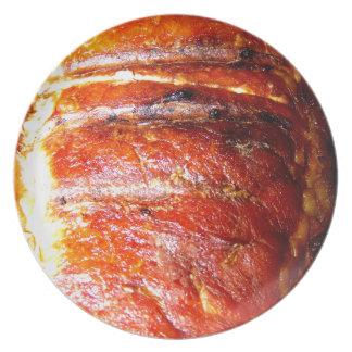 Foto de la carne asada del lomo de cerdo plato de cena