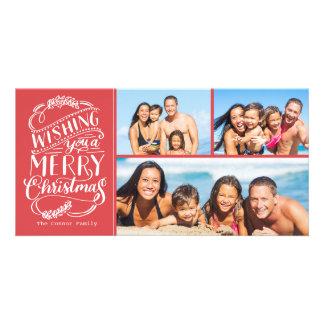Foto de la colección 3 de los deseos del navidad plantilla para tarjeta de foto
