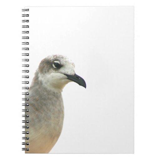 Foto de la esquina izquierda de la gaviota libro de apuntes con espiral