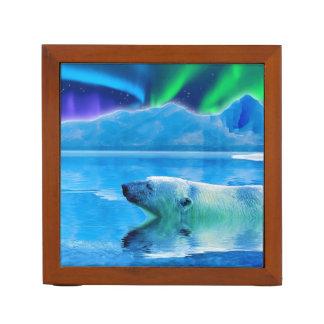 Foto de la fauna del oso polar que nada y de la portalápices