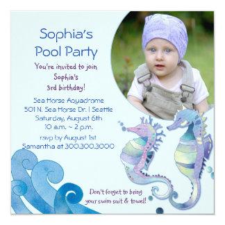 """Foto de la fiesta en la piscina del cumpleaños del invitación 5.25"""" x 5.25"""""""