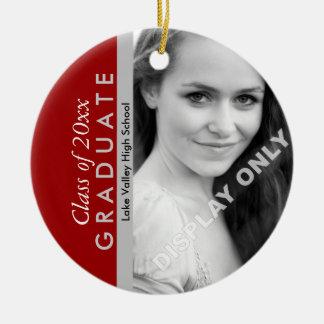Foto de la graduación del escarlata y del gris adorno navideño redondo de cerámica