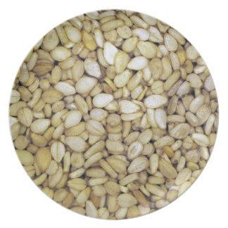 Foto de la macro de la semilla de sésamo platos de comidas