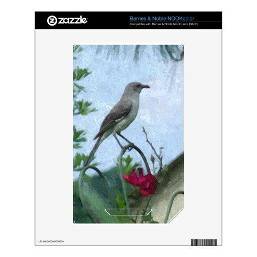 Foto de la naturaleza animal del Mockingbird de lo Calcomanías Para El NOOK Color