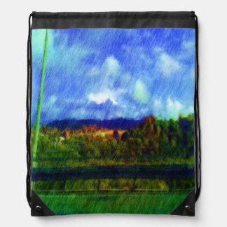 Foto de la pintura de la naturaleza del camino mochilas