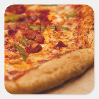Foto de la pizza pegatina cuadrada