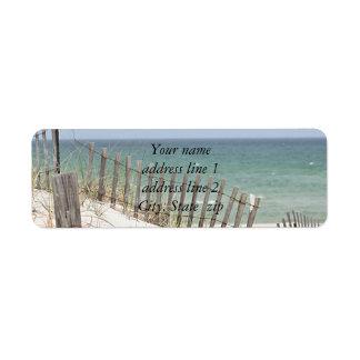 Foto de la playa etiquetas de remite