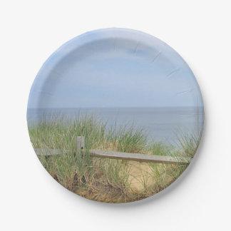 Foto de la playa platos de papel