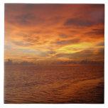 """Foto de la puesta del sol de la playa del """"cielo p teja cerámica"""