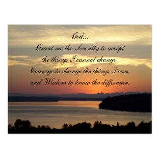 Foto de la puesta del sol del paisaje marino del tarjeta postal