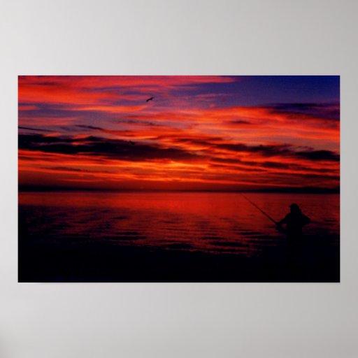 Foto de la puesta del sol del pescador posters