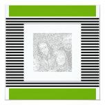 Foto de la raya negra de la verde lima del invitación 13,3 cm x 13,3cm