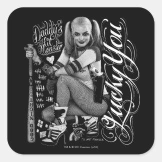 Foto de la tipografía del pelotón el | Harley Pegatina Cuadrada
