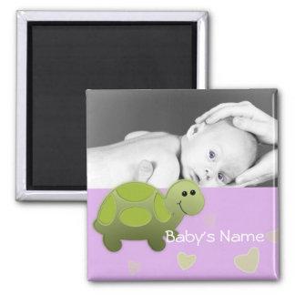 Foto de la tortuga del bebé imán cuadrado