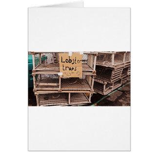 Foto de la trampa de la langosta tarjetón