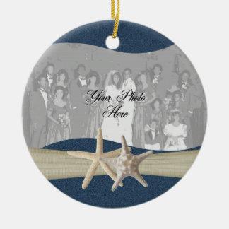 Foto de las estrellas de mar del océano de los adorno navideño redondo de cerámica