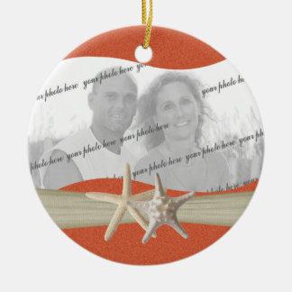 Foto de las estrellas de mar del tema de la playa adorno navideño redondo de cerámica