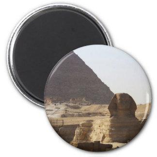 Foto de las pirámides y de la esfinge de Giza Imán Redondo 5 Cm