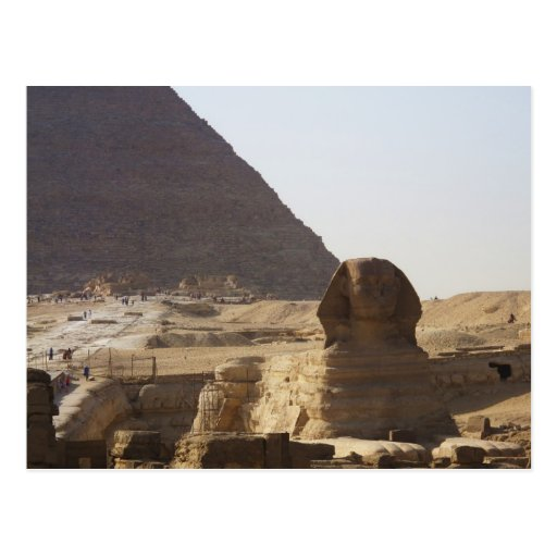 Foto de las pirámides y de la esfinge de Giza Tarjeta Postal