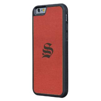 Foto de lino roja de la textura con el monograma funda de iPhone 6 bumper arce