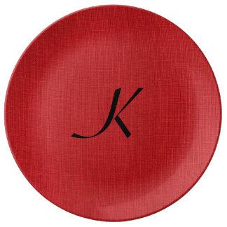 Foto de lino roja de la textura con el monograma platos de cerámica