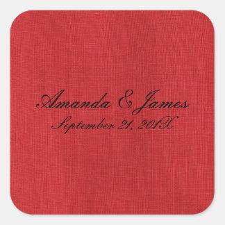 Foto de lino roja de la textura pegatina cuadradas personalizada