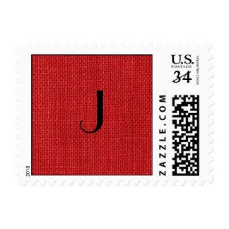 Foto de lino roja de la textura - pequeña sellos postales