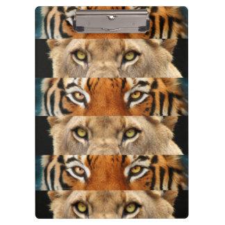 Foto de los ojos del tigre y del león