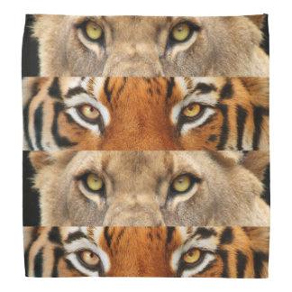 Foto de los ojos del tigre y del león bandana