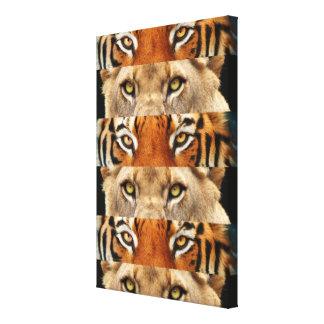 Foto de los ojos del tigre y del león impresión en lona estirada