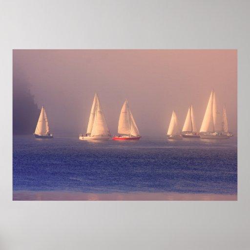 Foto de los veleros de la puesta del sol posters