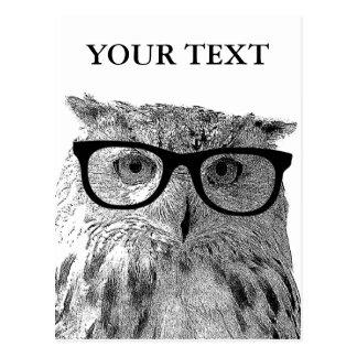 Foto de los vidrios del búho animal divertido de l tarjetas postales