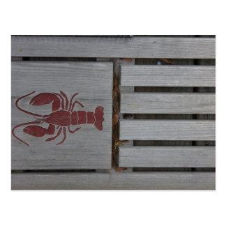 Foto de madera de la langosta postal