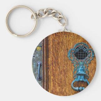 Foto de madera de la puerta llavero redondo tipo chapa