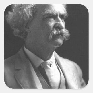 foto de Mark Twain Calcomania Cuadradas Personalizadas