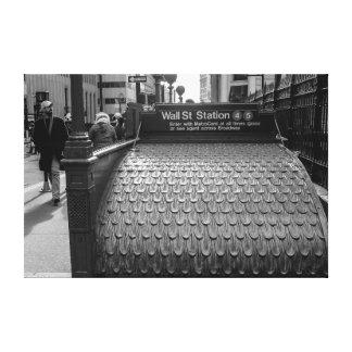 Foto de New York City Wall Street en negro y Lona Envuelta Para Galerías
